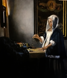 Woman Holding a Balance after Johannes Vermeer