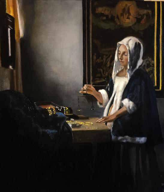 Woman Holding a Balance after Johannes Vermeer
